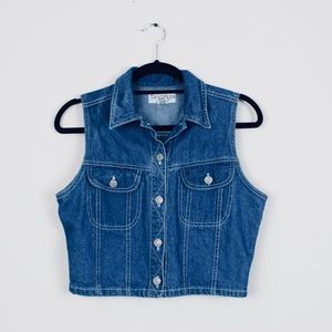 Vintage Cropped Denim Vest 100% cotton